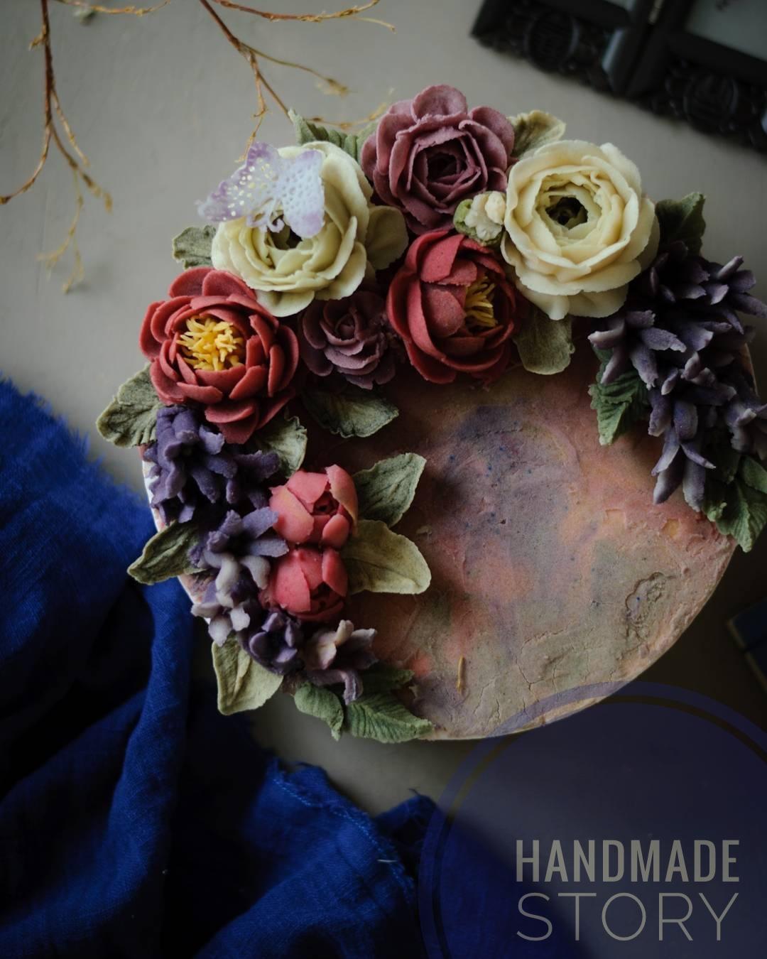 Bean Paste Flower Cake Design Handmade Story